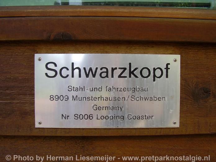 Fabrieksplaatje Schwarzkopf op Thunder Loop Attractiepark Slagharen