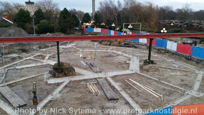 Bouw nieuwe achtbaan Gold Rush in Attractiepark Slagharen