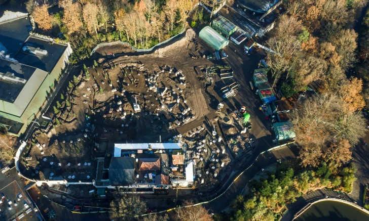 Max & Moritz bouwplaats Efteling vanuit de lucht