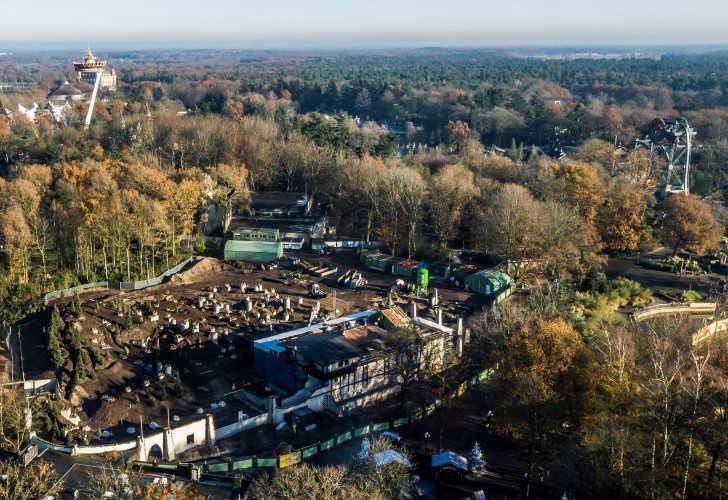 Dronebeeld bouwplaats Max & Moritz Efteling